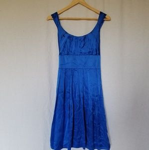 Maggie London petite fit and flare silk blue dress